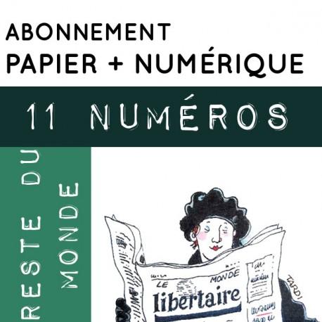 11 numéros PAPIER + NUMÉRIQUE, Reste du Monde. Abonnement standard