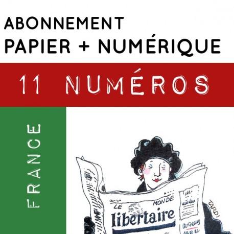 11 numéros PAPIER + NUMÉRIQUE, France. Abonnement standard